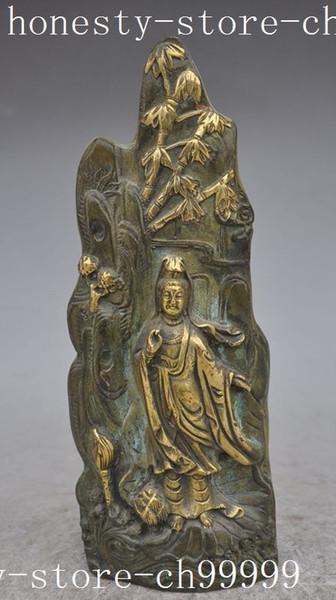 Navidad antigua China Bronce Dorado Lotus Bambú Kwan-Yin GuanYin Bodhisattva estatua de Buda de Halloween