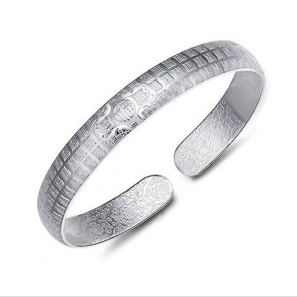 925 silver Women Bangles Fashion Pierced Hollow Antique Cuff Charm Bangle 925 Sterling Silver High quality jewelry