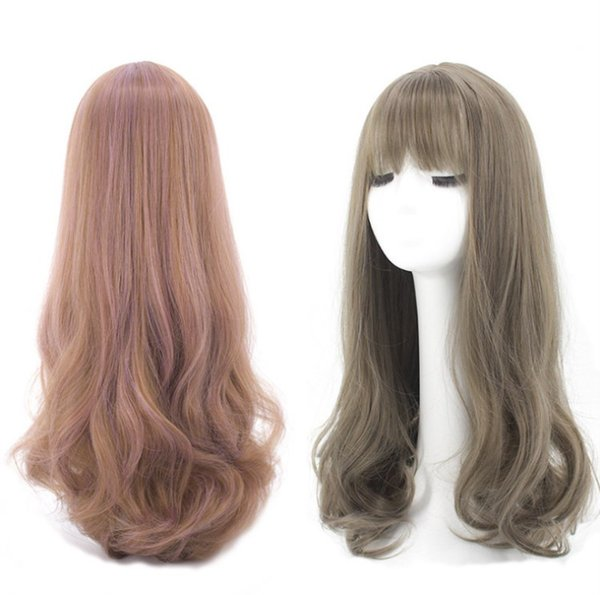 Z&F Pink Long Curly Wave Wig Fashion Seee-through Bangs US Style Lolita 65CM Export Matte Synthetic Fiber Suitable Anyone