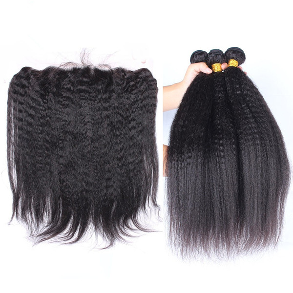Kinky Straight Peruvian Hair Weave With Free Parting 13*4 Lace Frontal Coarse Yaki 3Pcs Human Hair With Frontal Italian Yaki 4Pcs/Lot