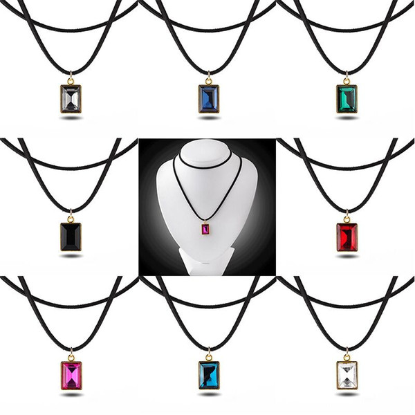 trendy Imitation Square rectangle Faceted gem necklace Red black purple green blue pink Transparent crystal pendant ruby necklace women x310