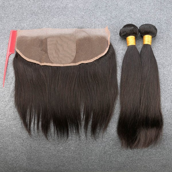Slove Straight Extention Unprocessed Free Shipping 100% Peruvian Virgin Hair 2/3 Bundles With 13*4 Silk Closure Top Quality Grade 8A
