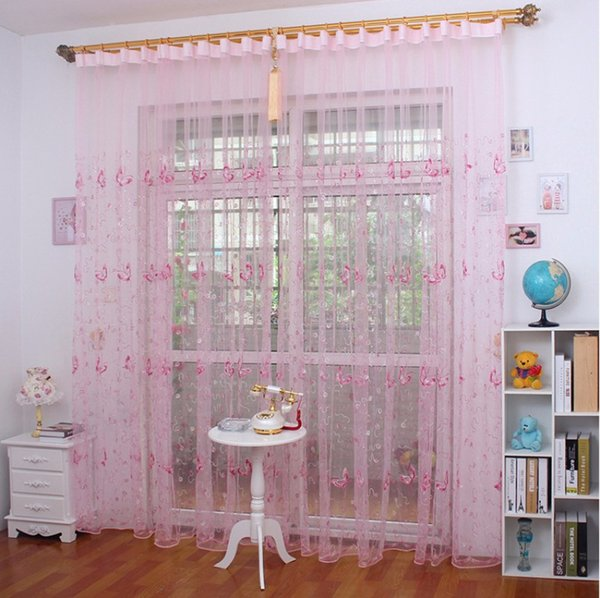 French Romantic Shining Butterfly Embroidered Voile Curtain Panel Window  Home Textile Bedroom Curtains Tulle Cortinas Tu0026344