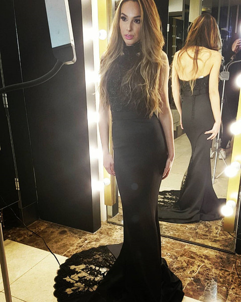 Fitted Black Lace Evening Dresses Sexy Back Formal Evening Gowns High Neck Beaded Black Prom Dress women formal party dress Custom Made