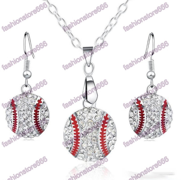 top popular Crystal Baseball Pendant Earrings Necklace Jewelry Sets Fashion Sports Jewelry Best Friend Gift For Team Club Base Ball Lovers 2021