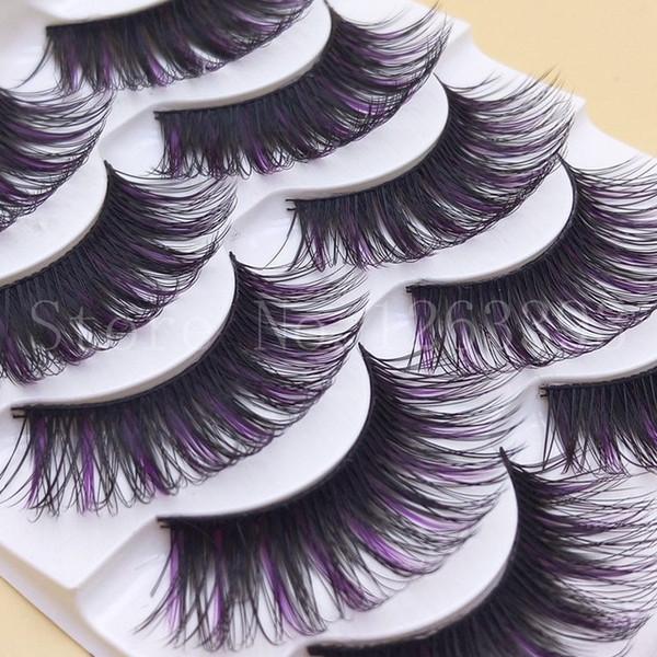 G102 Purple AND Black False Eyelashes Color Makeup Tool Lengthening Thick False Eyelashes Natural False Eyelashes Arena Eyelash