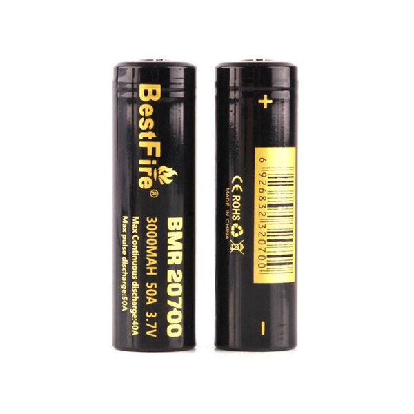 top popular 100% Original Bestfire 20700 Battery 3000mAh 50A High Drian Rechargeable Lithium Flat Top Batteries Fedex Free Shipping 2021