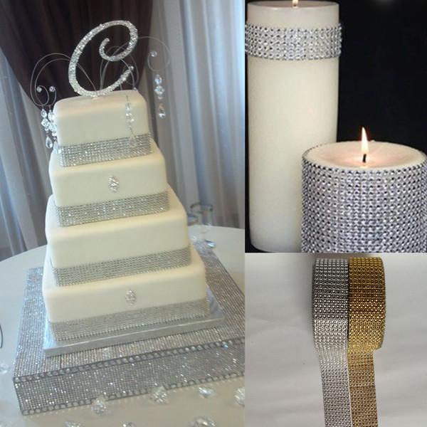 DIY Silver 1.5''*10 Yards 8 Row Diamond Mesh Wrap Roll Sparkle Rhinestone Trim Ribbon Gift Wrap Wedding Decor