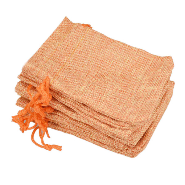 9x12cm Custom Faux Jute Drawstring Jewelry Bags Small Pouches Burlap Orange Blank Linen Fabric Gift packaging bags Hessian bag for sale