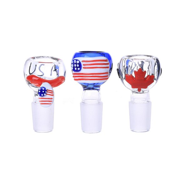 Soulton Glass 18mm Glass Bowl National Flag 2016 Heady Pipes Bowls Colorful 18mm Glass Bowl For Bongs BW-054