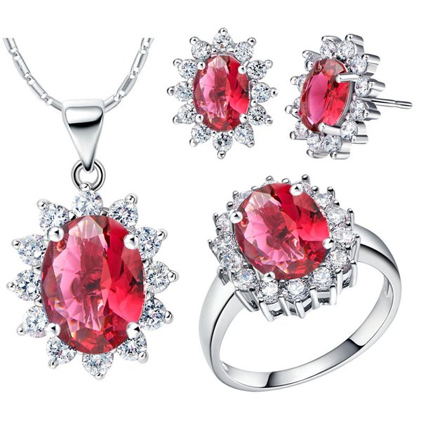 2017 women fashion jewelry set 18K white gold plated necklace earring ring set CZ women accessories Red Crystal 1 set