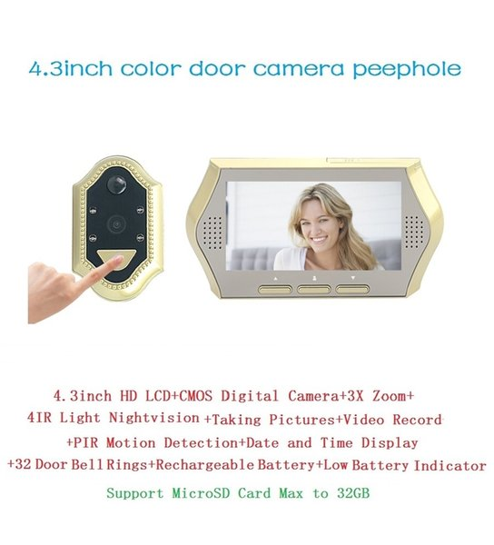 4.3inch electronic eye door peephole 0.3Megapixels door camera IR Night vision 3X Zoom 32 Rings PIR motion detection Max 32G