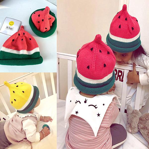 Nueva llegada 6 colores Bebé niños otoño invierno crochet sombrero patrón de fruta tapa de la sandía tapa de mantener caliente tapa de punto 1-6 años de edad SEN255