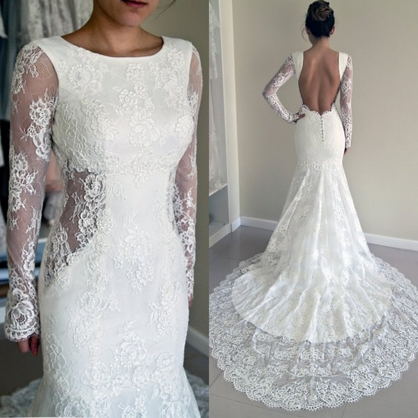 Attractive Sexy 2016 Trumpet Wedding Dresses Crew Neckline Mermaid Open Back Side Cut  Out Court Train Long