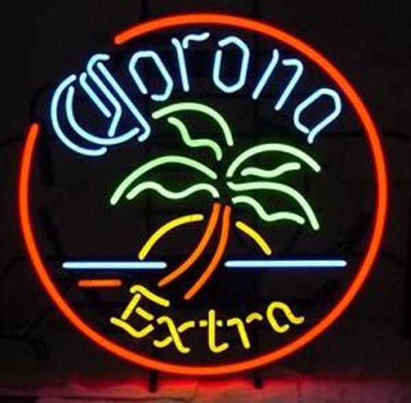 Corona Extra Círculo Palmeira Neon Sign Handcrafted Tubo De Vidro Real Personalizado Bar Dsico KTV Loja Loja Display Publicidade Sinais de Néon 24