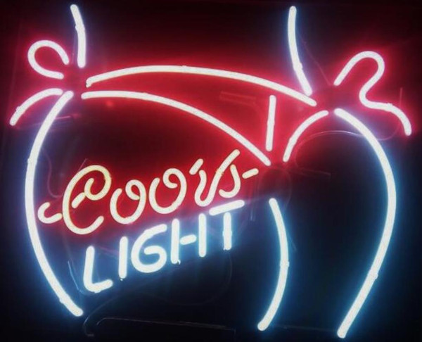 New Coors Light Bikini Girl Bar Pub Tavern Real Glass Neon Sign light Beer Sign 19x15in