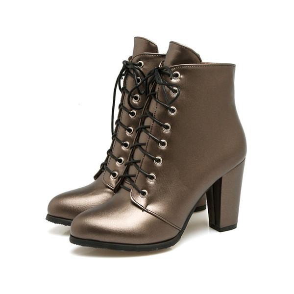 Acheter Femmes Chaussures En Cuir Synthétique Zip Talon Carré À Lacets Bottines UKB607 Taille US 4 10.5 Noir Argent Champagne De $23.12 Du