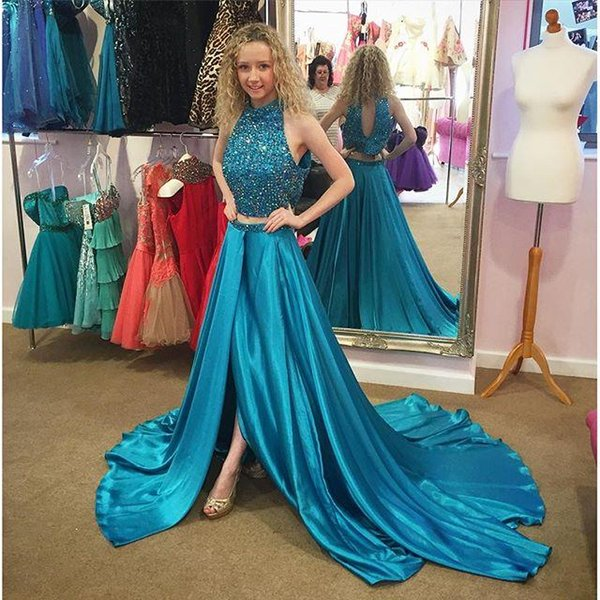 Two Pieces Crop Pageant Dresses Prom Dresses For Sweet 16 Young ...