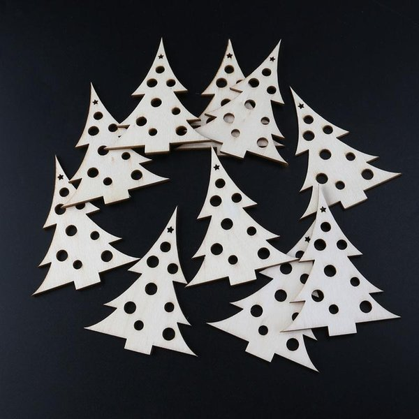 10pcs Wooden Embellishments Christmas Decoration Christmas Tree Pattern Pendant with Ropes