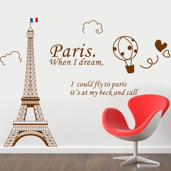 Can Remove Waterproof Wall Stickers Wallpaper The Eiffel Tower In Paris  Sitting Room Bedroom Background Adornment