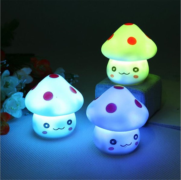 New Cute LED Mushroom Lamp 6.5cm Color Changing Party Lights Mini Soft Baby Child Sleeping Nightlight Novelty Luminous Toy Gift