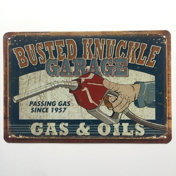 Busted Knuckle Garage Gas Oils Retro Vintage Metal Tin sign poster for Man Cave Garage shabby chic wall sticker Cafe Bar home decor
