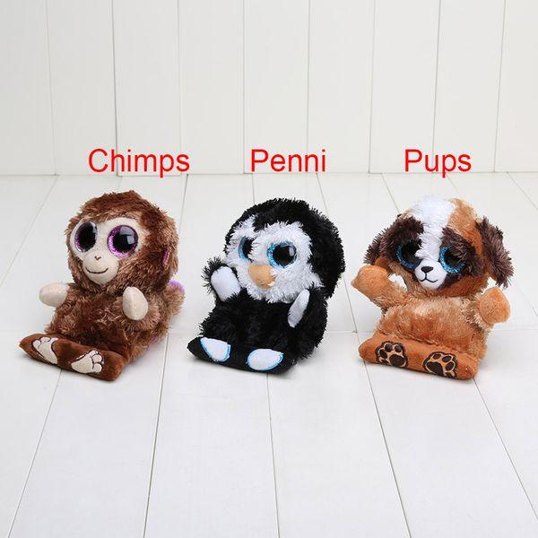 11.5cm 3pcs/set Ty Beanie Boos Peek A Boos Phone Holder Screen Cleaner Plush toys Penguin penni Monkey chimps Dog pups Big Eyes Toys