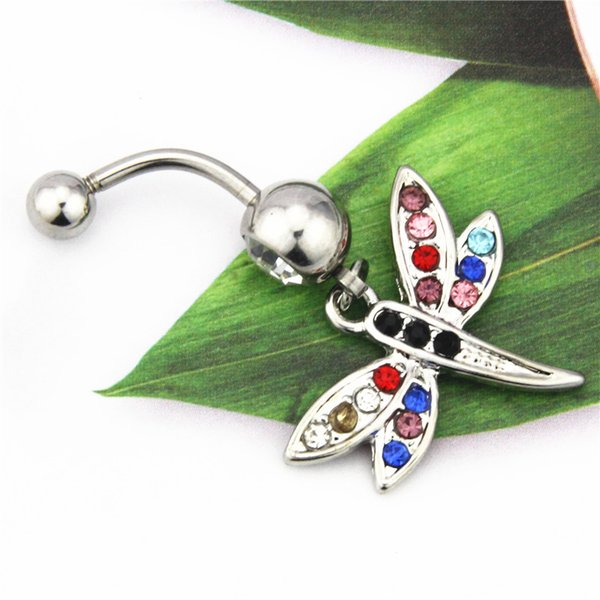Belly Ring Dangle 316L Surgical Steel 14G Colorful Rhinestone Dragonfly Navel Belly Button Ring Barbell