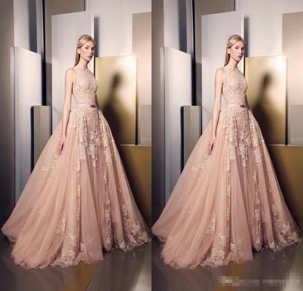 2016 Ziad Nakad Blush Pink Lace Formal Celebrity Evening Dresses Jewel Neck Overskirts Train Appliques Special Occasion Gowns Prom Wears