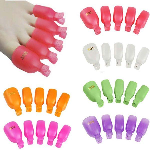 New 10Pcs/lot Plastic Foot Toe Nail Art Soak Off Cap Clip UV Gel Polish Remover Wrap Tool