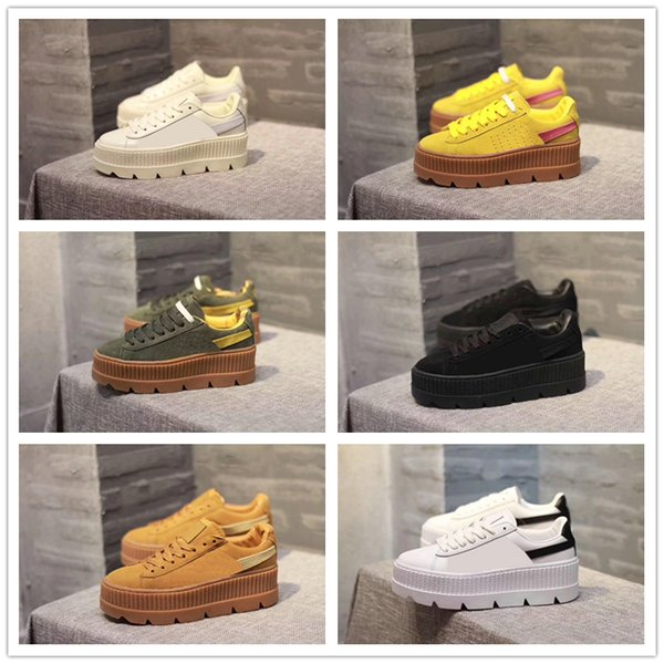 new product 13452 eb36c Cheap With Box 2017 Fenty Suede Cleated Creeper Womens Black Green Yellow  White Fenty Creepers By Rihanna Shoes Wholesale Drop Shipping Sneakers ...