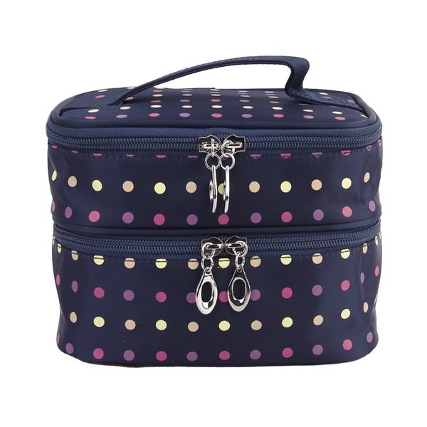 Wholesale- Women Polka dots double layers portable make up organizer bag cosmetic makeup bags (dark blue)