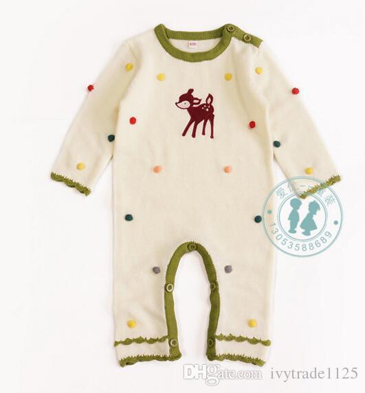 2017 INS new arrivals bebê crianças escalada romper bolo veados projeto manga longa camisola quente romper de alta qualidade de algodão do bebê romper navio livre