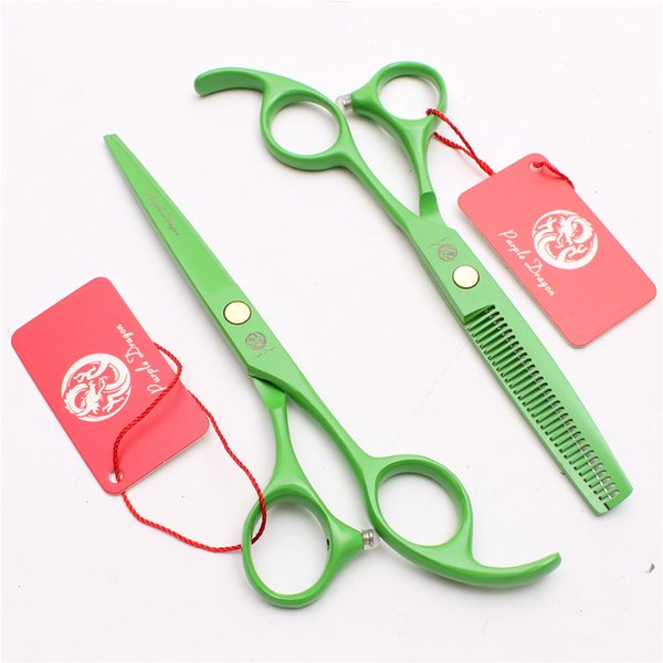 "Z1023 5.5"" Japan 440C Purple Dragon Laser Green Professional Human Hair Scissors Barbers' Scissors Cutting Thinning Shears Salon Style Tool"