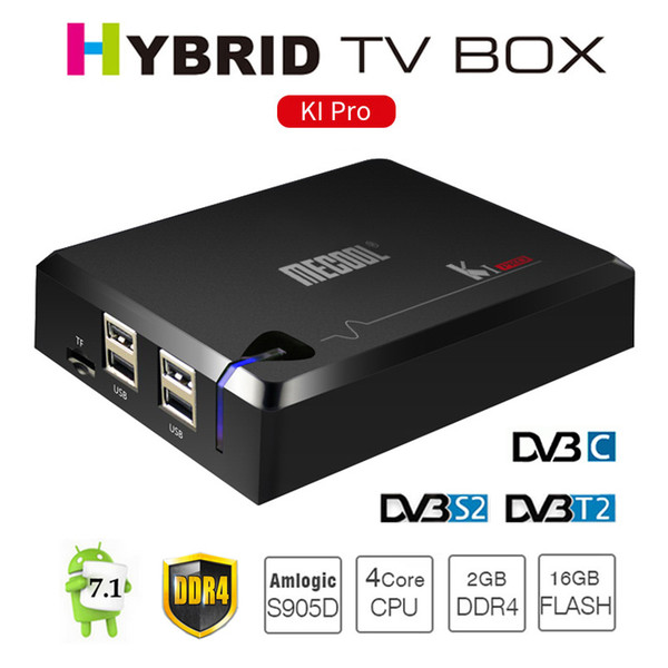 Mecool KI Pro Android TV Box DVB S2 T2 DVB-C Smart Mini PC DDR4 2G 16G Amlogic S905D Quad Core 2.4G/5.0G AC Wifi Satellite Media Player