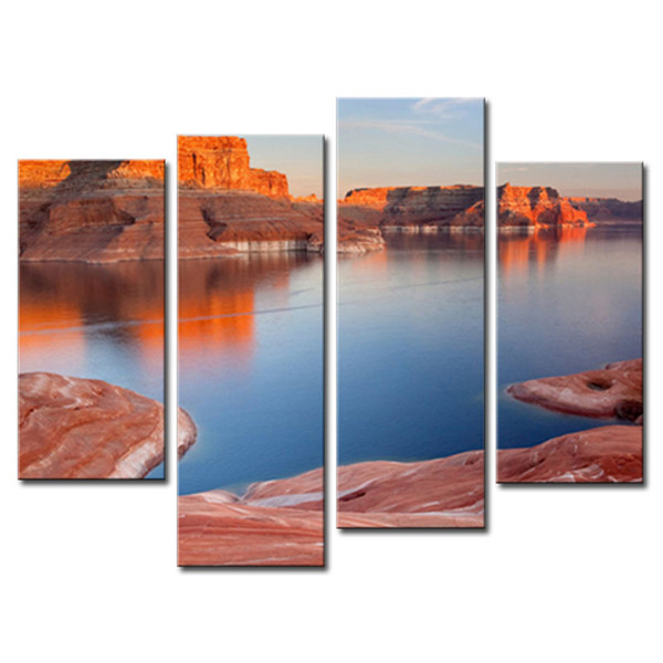 4 Pieces Modern Canvas Painting For Home Lake And Canyon At The Grand Canyon Landscape Canyon Print On Canvas with Wooden Framed