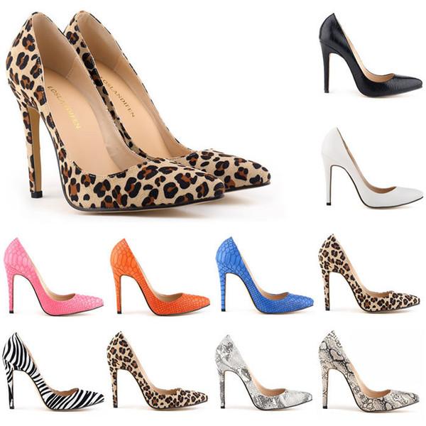 Sapatos Feminino Womens Sexy Evening Party High Heels Stilettos Shoes Snake Skin Leopard Pumps US Size 35-42 Women Shoes D0071