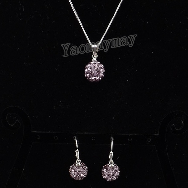 10mm Light Purple Disco Ball Pendant Earrings And Necklace Crystal Jewellery Set 10 Sets/lot Wholesale