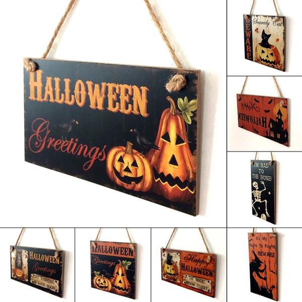 Happy Halloween Dekoration Holz Hängenden Plaque Board Zeichen Home Wand Fenster Kunst Dekor Halloween Kürbis Hexe Ornament