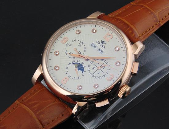 1619 Ossna 42mm White Dial PVD Rose Gold Stainless Steel Case Diamond Number Automatic Men's Gift For Men Watch
