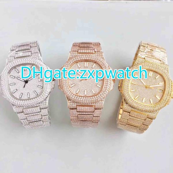 40MM Voll gefrorene Hip-Hop-Rapper sehen automatische Luxusuhren in bester Qualität (Roségold .Silber .Gold) mit Diamanten im Gehäuse aus Edelstahl