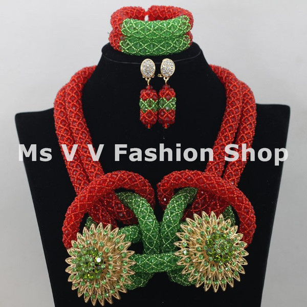 unique charm green red african jewelry indian jewelry beaded bracelets necklaces earrings jewellry set fit wedding prty a gift