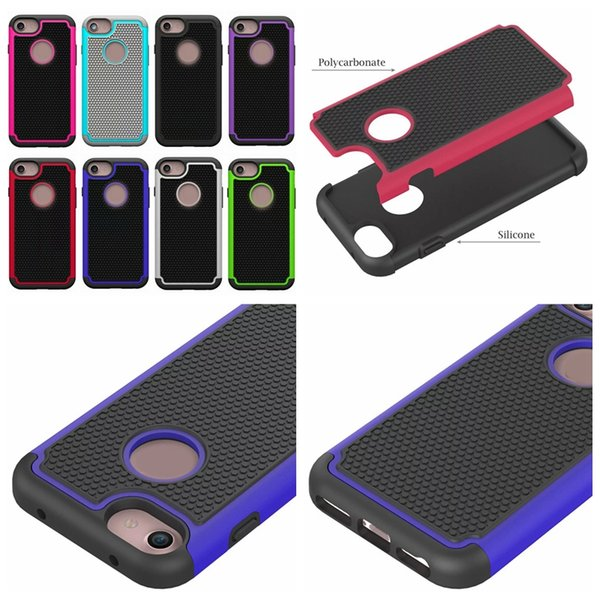 Square Hard Plastic PC+ Soft Silicone Gel Skin Football Hybrid Free Shipping Rugged Case Dot For Iphone 7 7G 7th 4.7 Iphone7 Plus 5.5