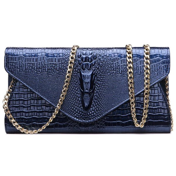 Bolsos de embrague de moda de las mujeres 2017 nuevos bolsos de cadena de cuero larga negro azul oro billetera bolso de hombro de las señoras de cuero