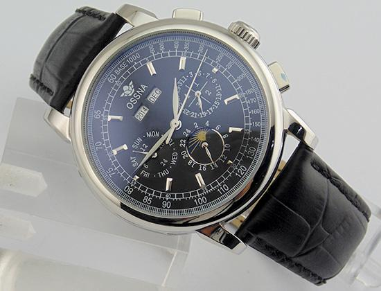 1655 Ossna 42mm Black Dial Silver Stainless Steel Case Moon Phase Multifunction Auto Watch Gift For Men