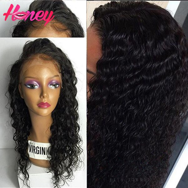 7A Front Lace Wig Human Hair For Black Women Glueless Wet Curly Lace Front Human Hair Wigs Baby Hair Curly Full Lace Wig