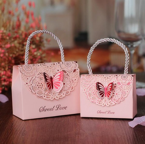 Butterfly Flower Candy Boxes Wedding Favors Portable Gift Box European Style Handheld Wedding Party Favor Boxes 50pcs/lot