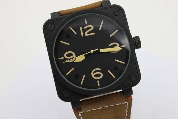 Special Cheap SquareTop Quality Brand Auto-Watch Black Case Black Dial Brown Leather Belt BR03-92 Avation Military Watch Montre Homme