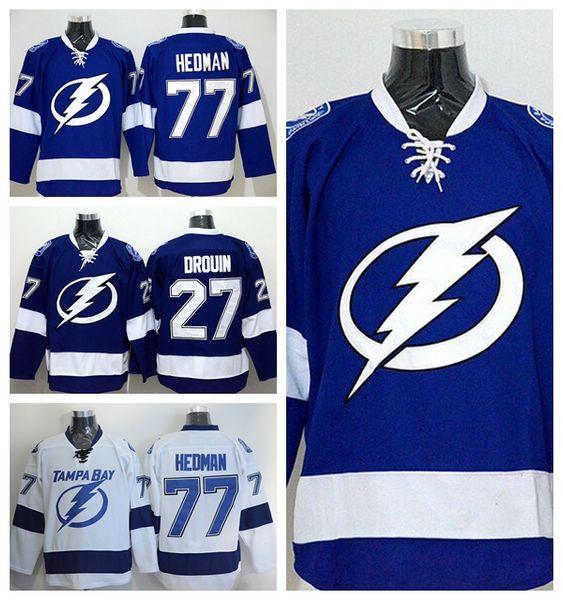 Tampa Bay Lightning 27 Jonathan Drouin Jersey Azul Blanco Color del Equipo 77 Victor Hedman Camisetas de Hockey Sobre Hielo Bordado Deportivo Mejor Calidad