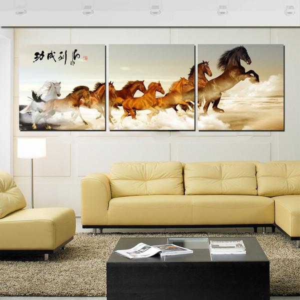 Unframed Home decoration 3 Pieces artimagens de tela de lona cavalo chinês caracteres tulipas flor abstrato dos desenhos animados árvores pastagens beira-mar